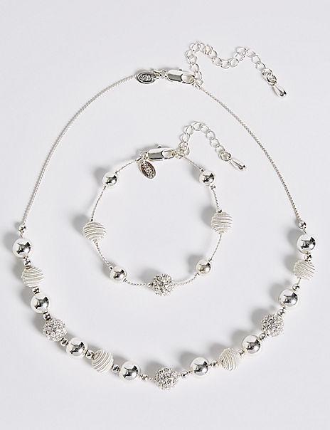 Silver Plated Sandblast Necklace & Bracelet Set