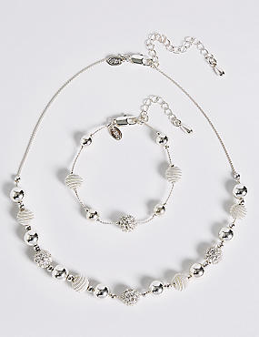 Silver Plated Sandblast Necklace & Bracelet Set