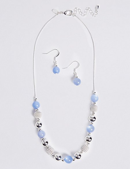 Marks and Spencer Snails Glass Necklace & Earrings Set blue mix VjUDCF