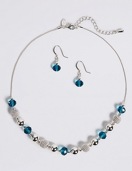 Marks and Spencer Snails Glass Necklace & Earrings Set blue mix qY3jm