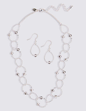 Silver Plated Necklace & Earrings Set