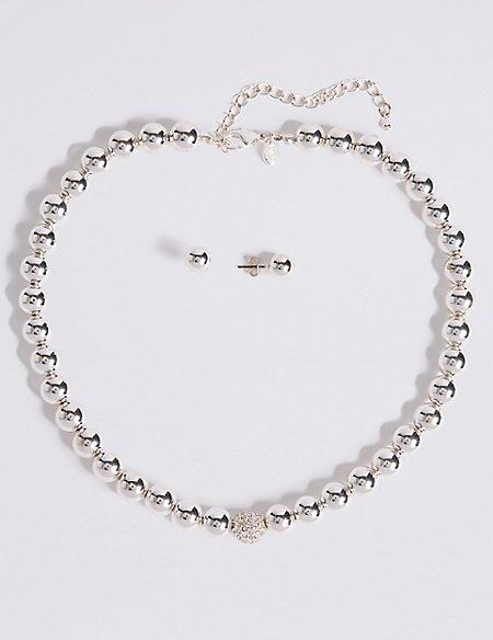 Silver Plated Sparkle Diamanté Necklace & Earrings Set