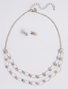 Silver Plated Necklace & Earring Set