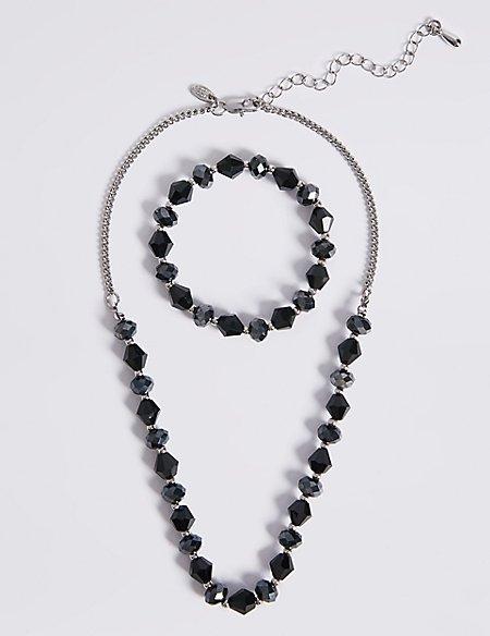 Assorted Multi-Faceted Sparkling Bead Necklace & Bracelet Set