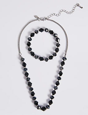 Assorted Multi-Faceted Sparkling Bead Necklace & Bracelet Set