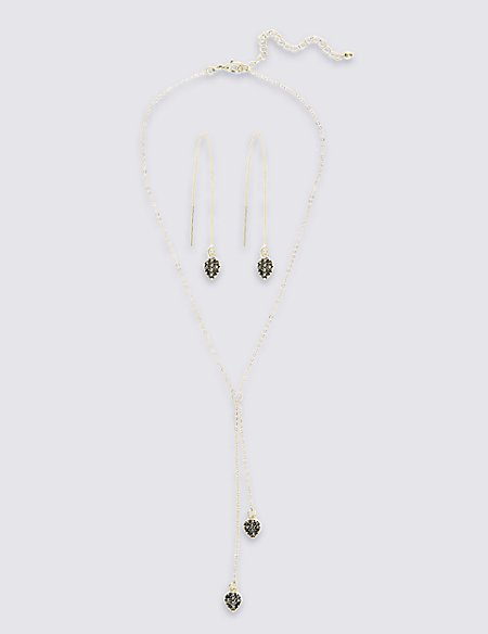 Pretty Pave Necklace & Earrings Set