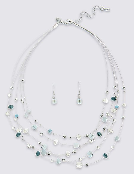 Graphic Floated Necklace & Earring Set