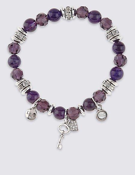 Diamanté Charm Stretch Bracelet