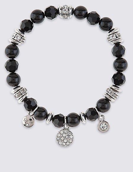 Diamanté Charm Bead Stretch Bracelet