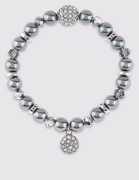 Pearl Effect & Diamanté Charm Stretch Bracelet