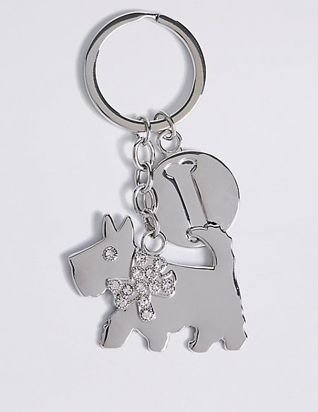 Diamanté Dog Keyring