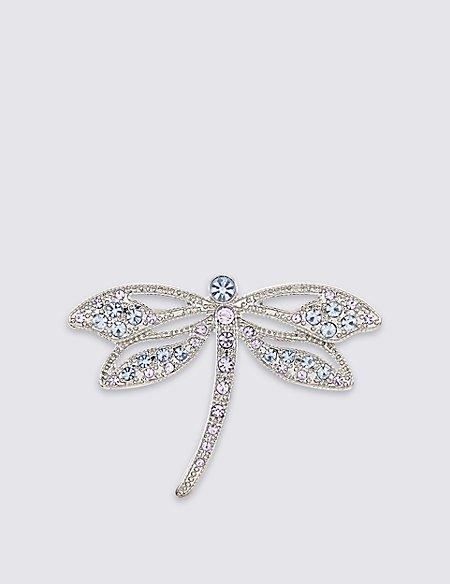 Diamanté Dragonfly Brooch