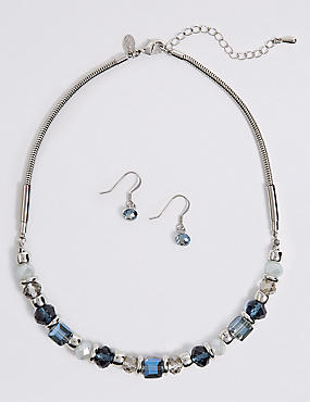 Double Tone Ball Necklace & Earrings Set