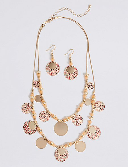 Paint Burst Discs Necklace & Earrings Set