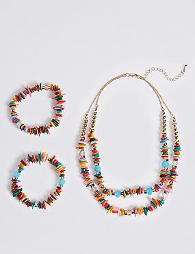 Radiant Shell Necklace & Bracelet Set