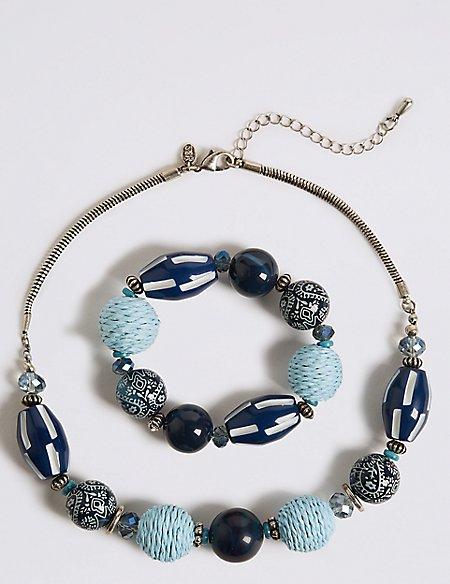 Paisley Bead Necklace & Bracelet Set