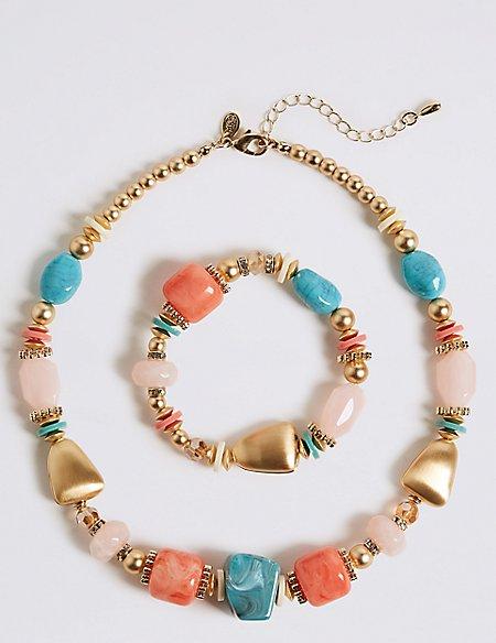 Mega Stone Bead Necklace & Bracelet Set