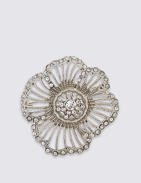Crystal Flower Brooch