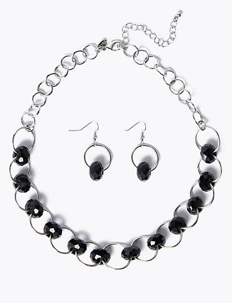 Facet Link Necklace and Earrings Set