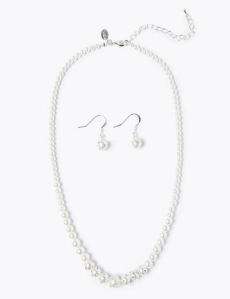 Pearl Effect Necklace & Earrings Set