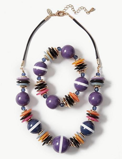 Resin Necklace & Bracelet Set