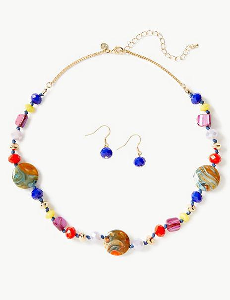 Beaded Necklace & Earrings Set