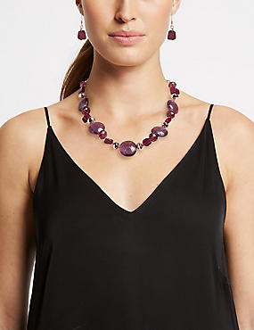 Berry Bead Shell Necklace & Earrings Set