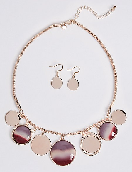Jingle Disc Necklace & Earrings Set