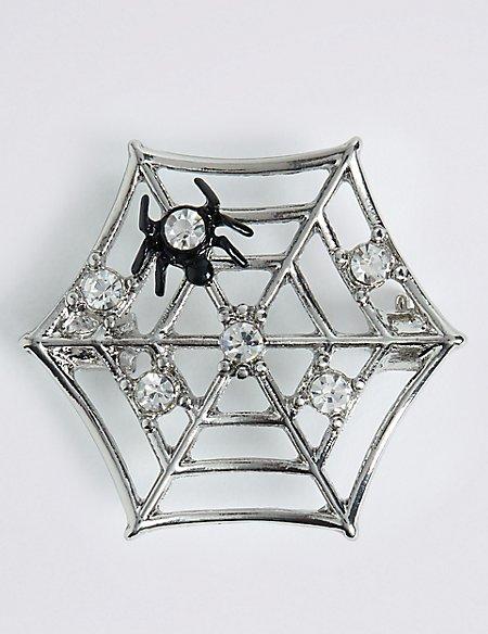 Halloween Sparkle Spider Web Brooch