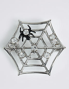 Halloween Sparkle Spider Web Brooch