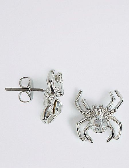 Halloween Sparkle Spider Stud Earrings