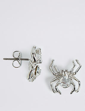 Halloween Sparkle Spider Stud Earrings