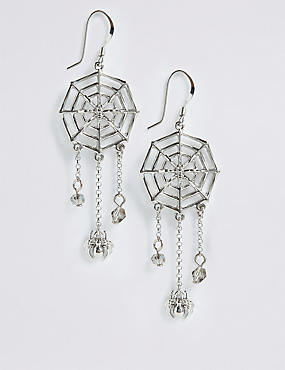 Halloween Hanging Spider Drop Earrings