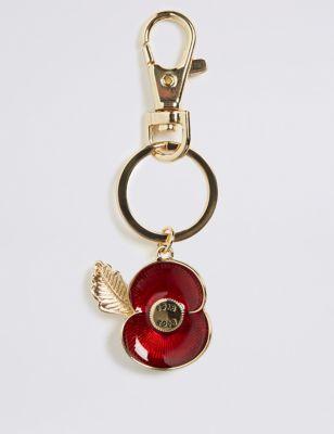 The Poppy Collection® Enamel Poppy Keyring by Marks & Spencer