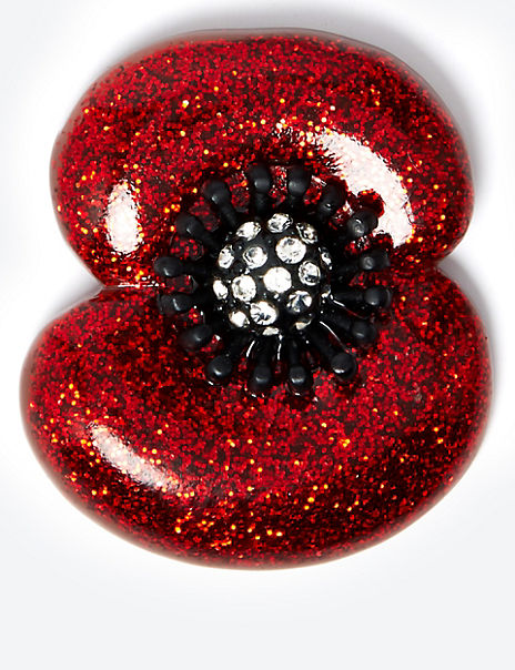 Glitter Poppy Brooch