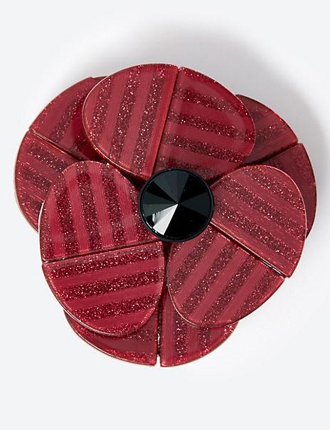 Large Resin Poppy Brooch