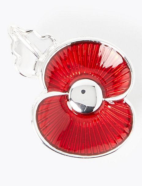 Enamel Poppy Brooch