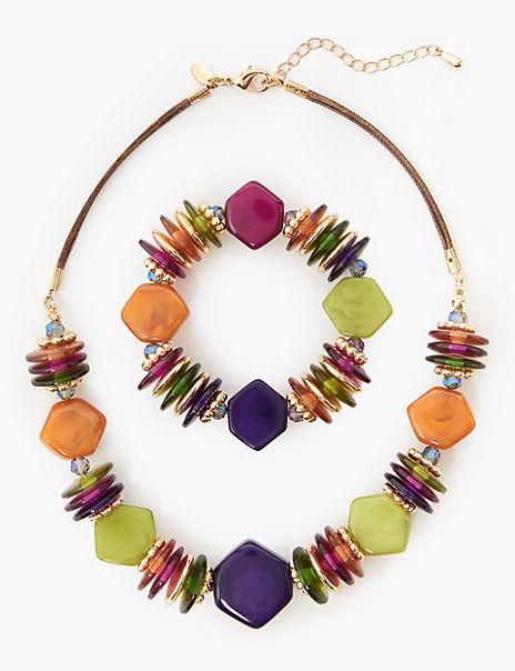 Chunky Beaded Necklace and Bracelet Set