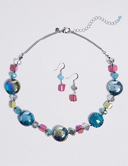 Lustrous Bead Necklace & Earrings Set