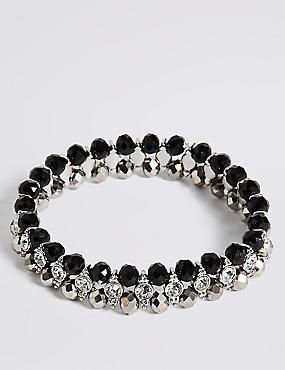 Diamanté Glamour Rows Bracelet