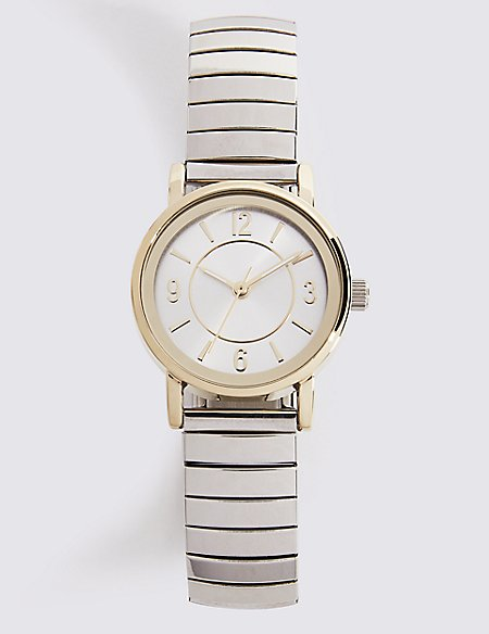 Double Tone Round Face Expander Watch