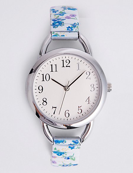 Floral Print Round Face Expander Watch