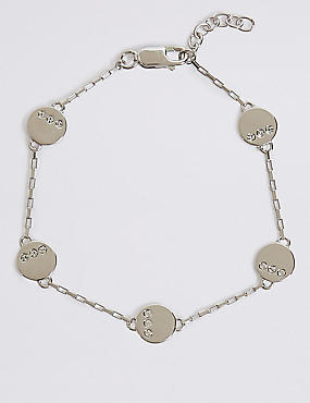 Sterling Silver Stone Disc Bracelet with Swarovski® Crystals