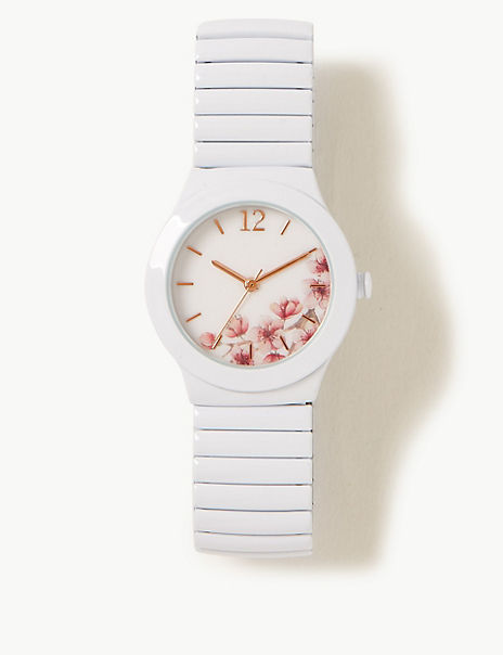 Floral Round Face Expander Watch