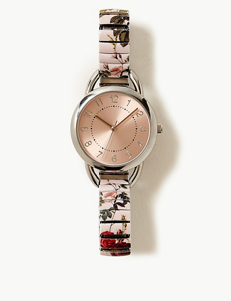 Round Face Floral Strap Expander Watch