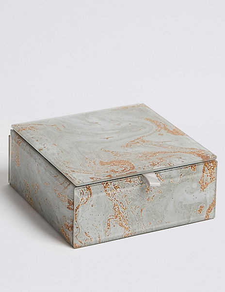 Glass Small Marble Jewellery Box