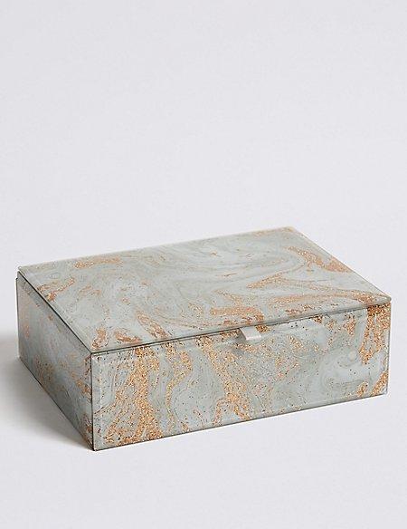 Glass Medium Marble Jewellery Box