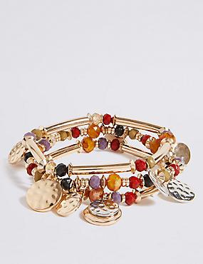 Bead & Disc Stretch Bracelet Set