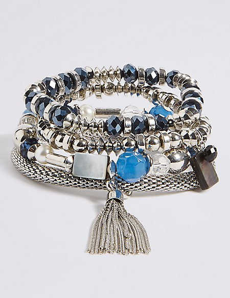 Gem Tassel Multi Stretch Bracelet