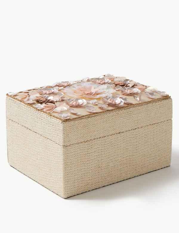 40847540e83 Medium Sequin Flower Jewellery Box